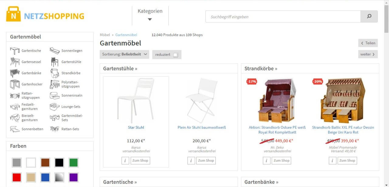 Netzshopping Screenshot