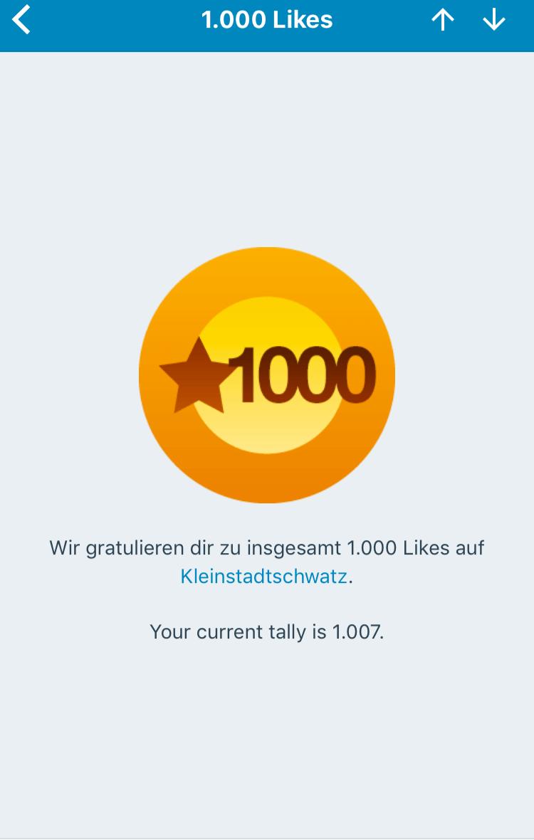 1000 WordPress Likes für Kleinstadtschwatz