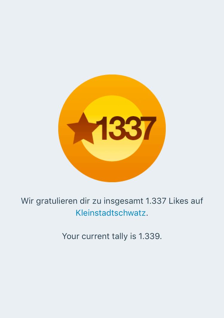 Gratualtion zu Likes