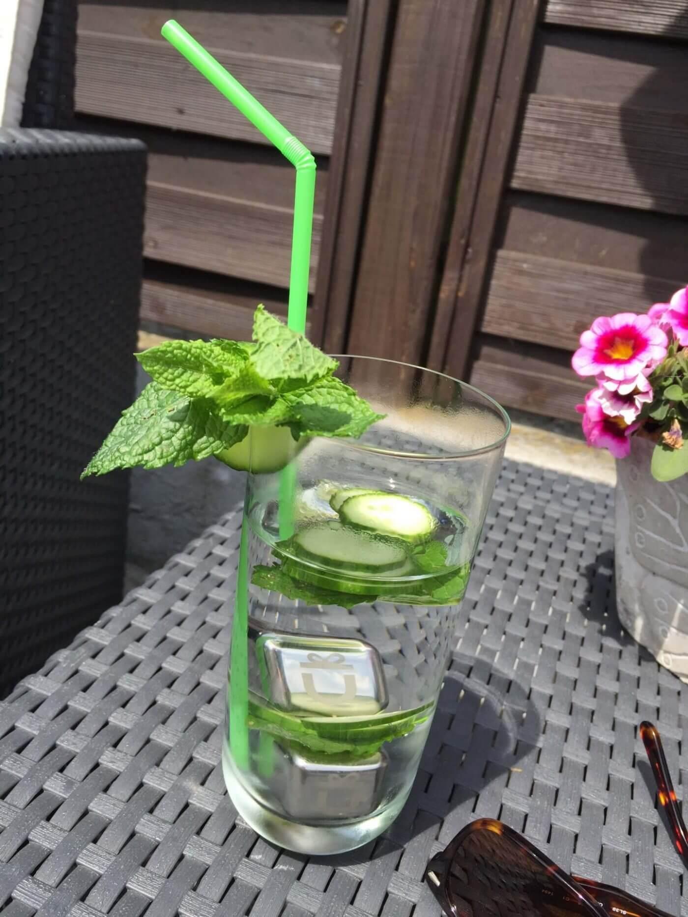Edelstahl Eiwürfel in Gurkenwasser mit Minze
