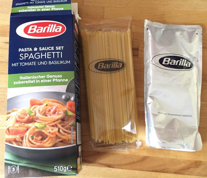 Packungsinhalt Barilla Spaghetti mit Tomate und Basilikum