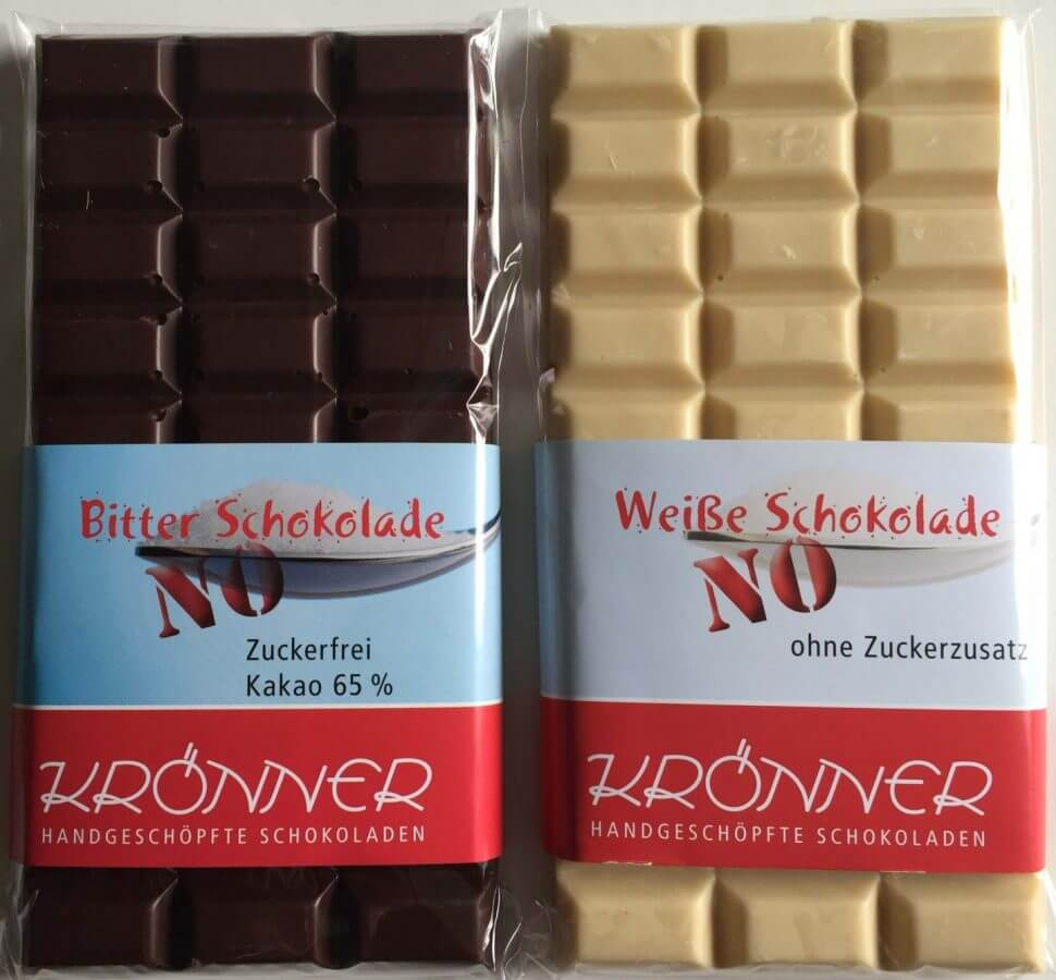 Krönner no Sugar Tafeln Zartbitter und weiße Schokolade