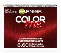 Rot, Mahagoni, Kupfer und viel mehr – COLOR ME bietet Dir eine außergewöhnliche Reihe von 13 Rot- & Kupfertönen. Von knallig und quirlig bis weich und subtil findet hier jede Frau ihr richtiges Rot: Zum Beispiel ein starkes, intensives Rot mit der 6.60 Intensives Rot.  UVP: 6,95 €