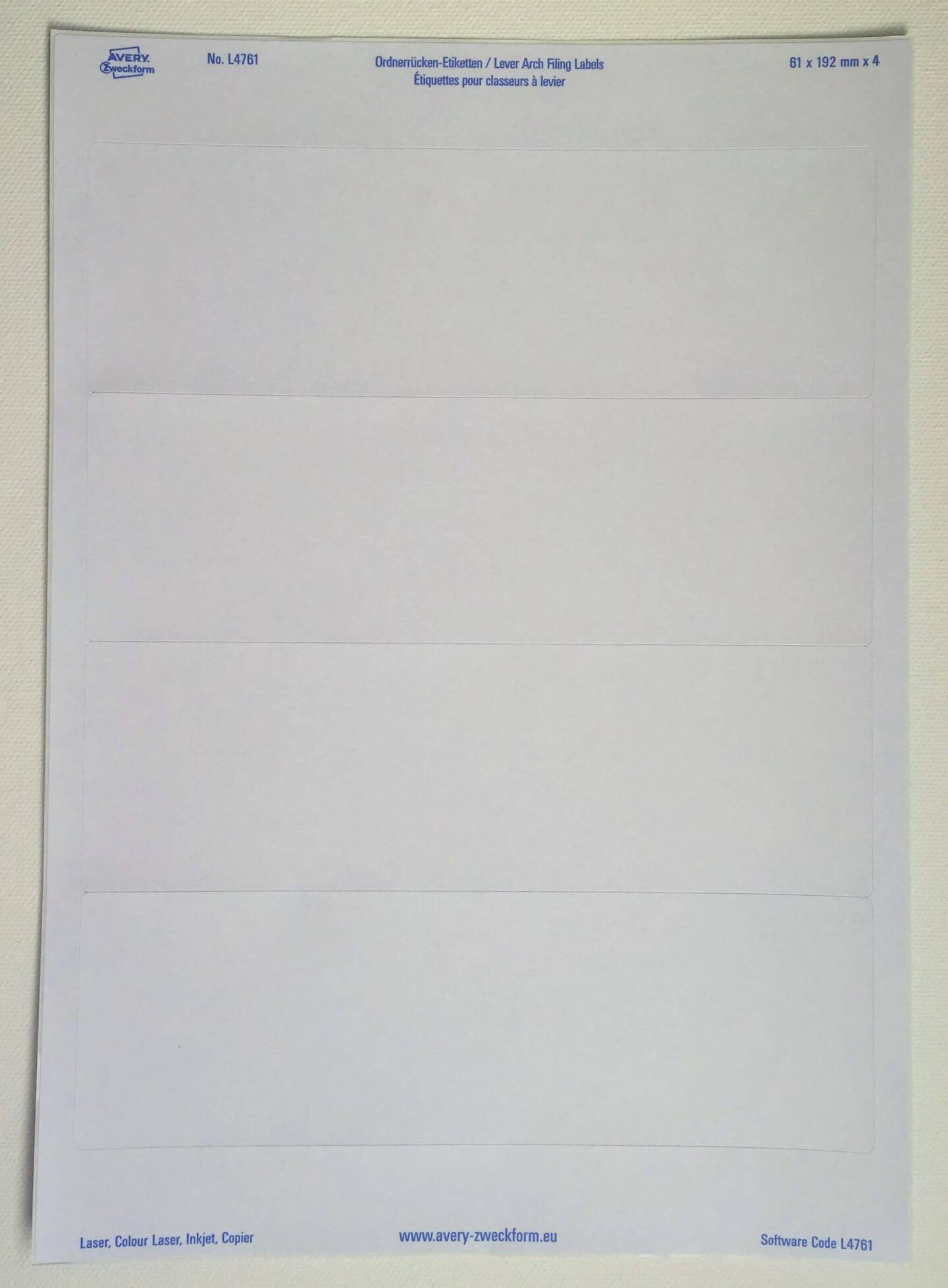 Avery Zweckform Etiketten dauerhaft klebend für breite Ordner, ein Bogen mit 4 Etiketten