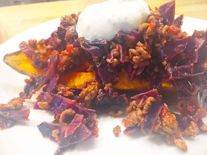 Süßkartoffel mit Rotkohl Pfanne