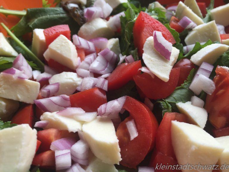 Pflücksalat mit Tomate, Mozzarella und Zwiebeln