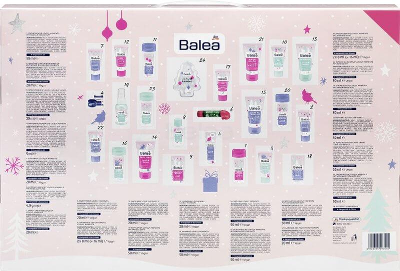 Balea Adventskalender Lovely Moments Rückseite