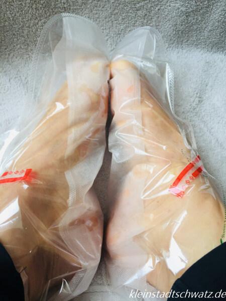 Summer Foot Fußmaske angezogen