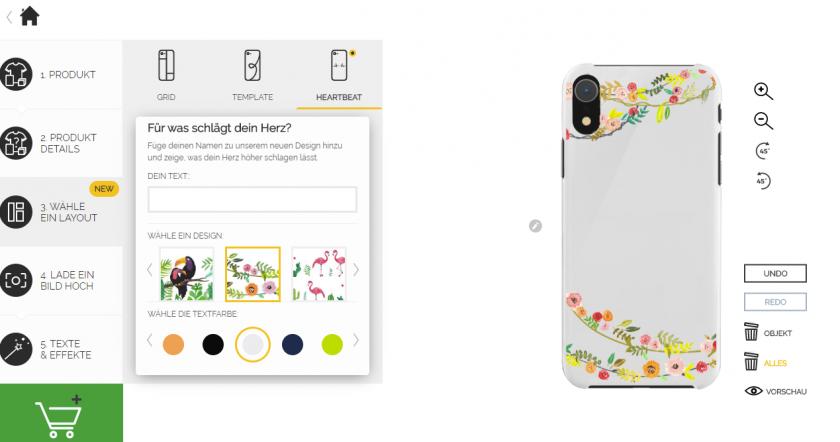 Auf der Webseite Gestalte dein Produkt - Layout aussuchen