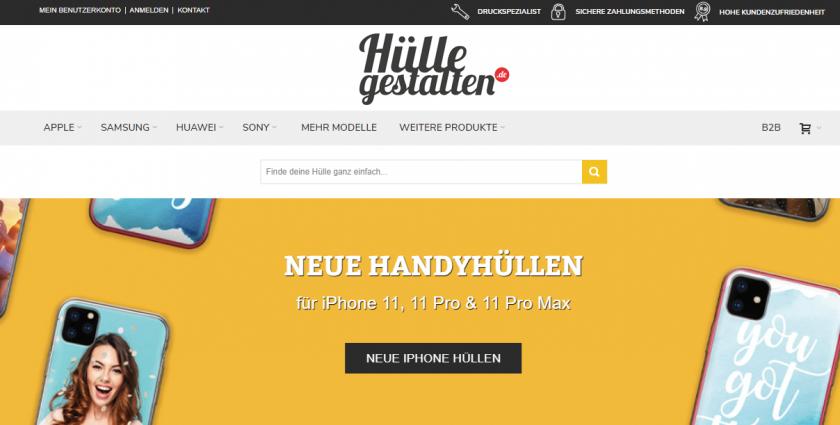 Screenshot der Webseite Hülle gestalten