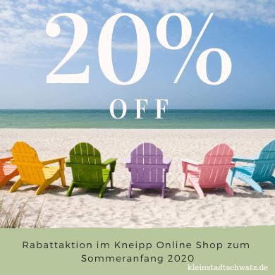 Rabattaktion zum Sommeranfang 2020 im Kneipp Online Shop
