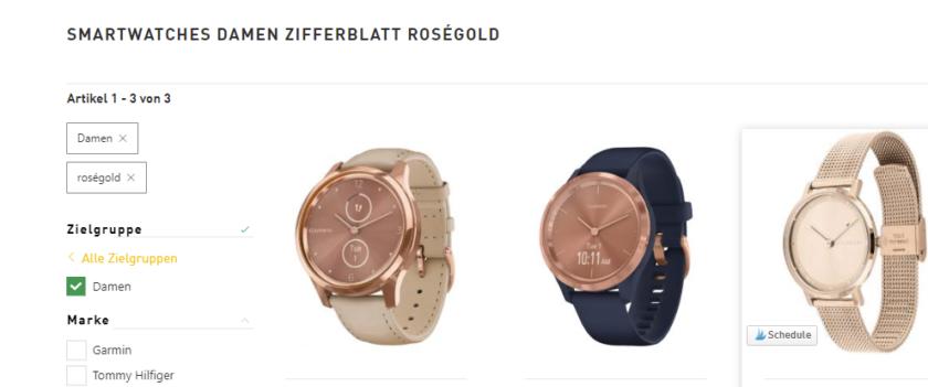 Ergebnis der Suche Smartwatches Damen auf der Webseite Uhrcenter in roségold