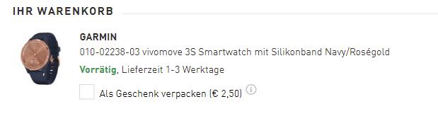 Ansicht des Warenkorbs auf der Webseite des Online Juweliers Uhrcenter