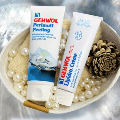 Gehwol Perlmutt Peeling und Gehwol med Lipidro Creme