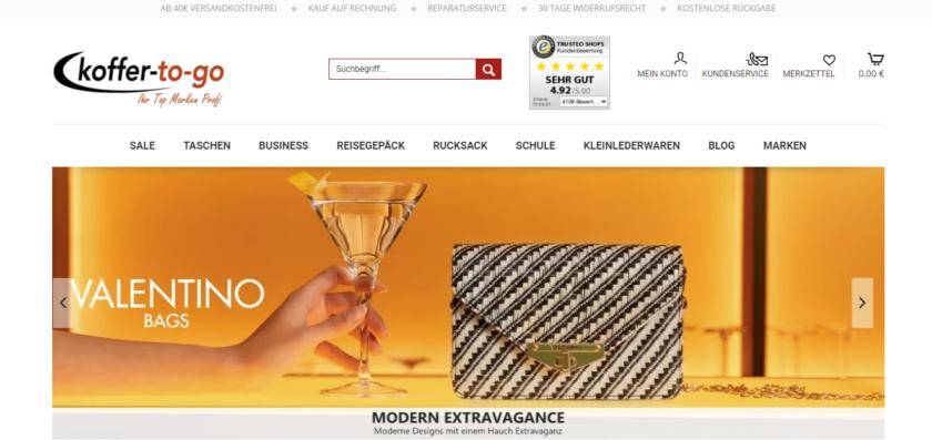 Screenshot von koffer-to-go.de - Startseite