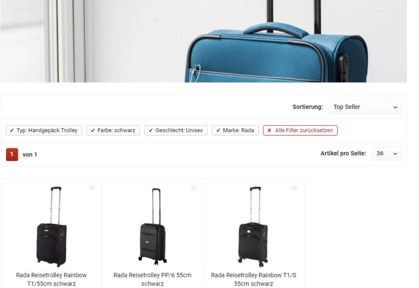 Screenshot von koffer-to-go.de - Suche in der Kategorie Handgepäck