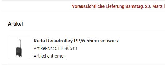 Screenshot von koffer-to-go.de - Warenkorb mit Lieferzeitraum