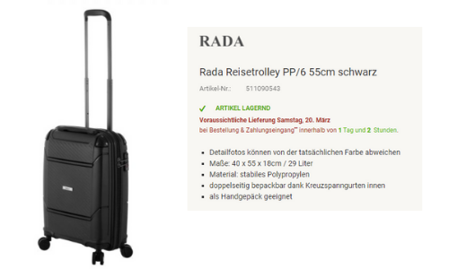 Screenshot von koffer-to-go.de - Reisetrolley von Rada